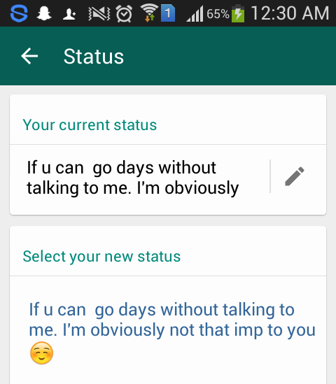 Pap Your Current Whatsapp Status Askfmsyedzadi