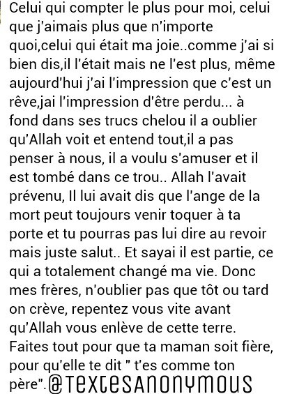 Slm Vous Pouvez Faire Un Texte Pour Mon Grand Frere Decede A